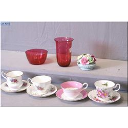 A selection of collectibles including four cups and saucers, including Royal Albert, English bone ch