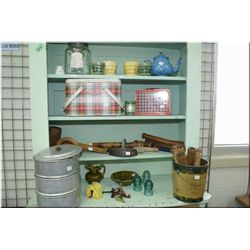 Large selection of collectible and primitives including sadirons, stacking canisters, tins, McCoy po