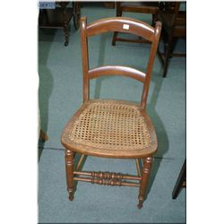 Vintage side chair with rattan seat