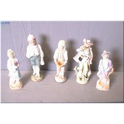 "Five antique hand painted figures, 7 1/2"" to 10"" in height"