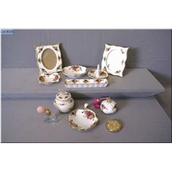 A selection of Royal Albert  Old Country Roses  including ring holder, two picture frames, ashtrays,