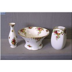 Three pieces of Royal Albert Old Country Roses including large center bowl and two vases