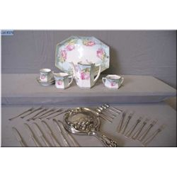 A selection of collectibles including a C.S. Russia, note missing lid on sugar bowl plus a sterling
