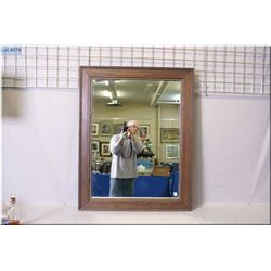 "Large oak framed wall mirror, overall dimensions 41"" X 32"""