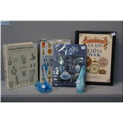 Four collector's reference books on glass collecting and two pieces of art glass
