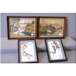 Four frame wall hangings including two Japanese embroidered pictures and two three dimensional Asian