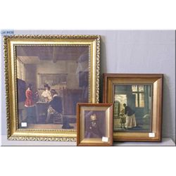 Three framed prints by Dutch painters, two in shadowboxes