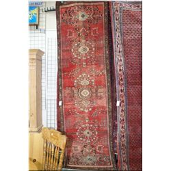 "Iranian wool runner with multiple medallions, in shades of muted reds and cream 35"" X 120"""