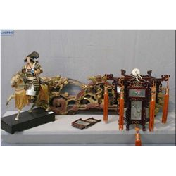 Three Oriental decor items including a hanging fixture, a warrior on horse back and a carved dragon