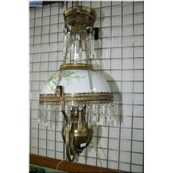 Antique hanging banquet lamp with floral shade and lustre, note electrified