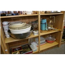 A selection of collectibles including Pyrex, hand crank ice crusher, teak tray, decorator plates, st