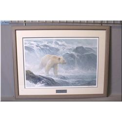 "A framed limited edition print ""Salmon Watch-Spirit Bear"" 3598/5000 exclusive to the Robert Bateman"