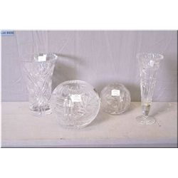 Four pieces of etched crystal two roses bowls and two vases""
