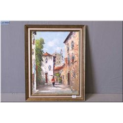 "A framed oil on canvas painting of an Italian court yard signed by artist 15"" X 12"""