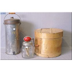 Wooden cheese box, McClary's cream separator and hand crank butter churn