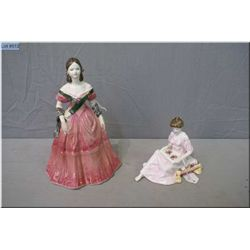 "Two porcelain figurines including Coalport ""Young Victoria"" and Royal Albert ""Thoughts of You"""