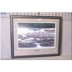 "Framed limited edition print ""Navigating the Rapids-Black Bear"" 5965/7000 exclusive to the Robert Ba"