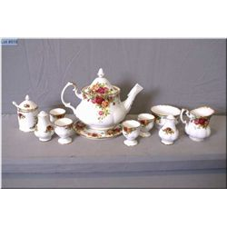 "A selection Royal Albert ""Old Country Roses"" china including teapot and trivet, mustard pot, four eg"
