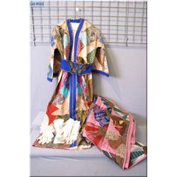 A vintage handmade kimono style gown, lace gloves, handmade quilt etc.