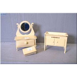 A selection of vintage French ivory jewellery boxes shaped like doll's furniture including a small m