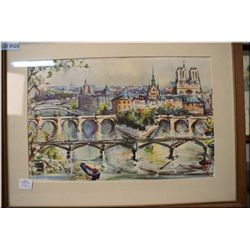 Four vintage framed prints including two featuring scenes in Paris, Napoleon on horse back etc.