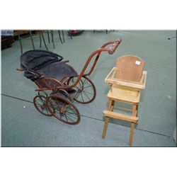 A Victorian style doll carriage and a doll's highchair