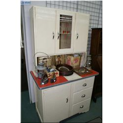 Primitive Canadiana kitchen cabinet with arborite working surface