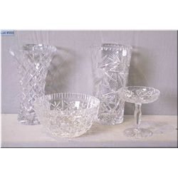 Four pieces of crystal including two vases, a bowl and a small comport