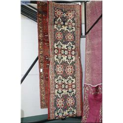 """Iranian wool runner in shades of navy, red and cream 32"""" X 165"""""""