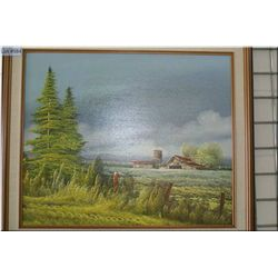 """A framed oil on canvas painting depicting a farm before a storm scene signed by artist 19"""" X 23"""""""
