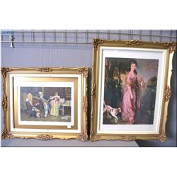 """Two gilt framed prints including a portrait of a woman and her dog and """"A Match for Her Guardian"""""""