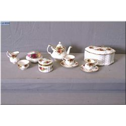 A selection of Old Country Roses china including miniature tea set with teapot, cream, sugar and two