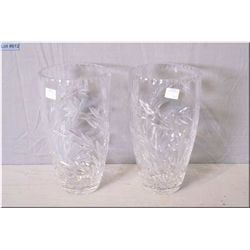 "Two crystal flower vases 10 1/2"" in height"