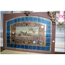 Antique stained and leaded glass window with hand painted audubon center panel, overall dimensions 2