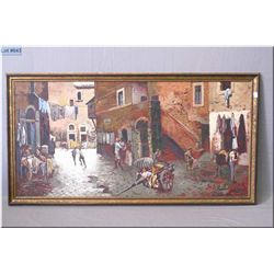 "Framed oil on board painting ""Via Capocciotto Nel Ghetto"" signed by artist A. Aqortimi marked on ver"