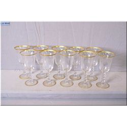 Ten vintage etched and gilt edged grape and leaf motif wine goblets