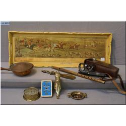 A pictorial treenware hunt scene serving tray, small flute, miniature copper warmer, barometer, Cuna