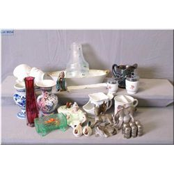 A selection of collectibles including shaving mug, carnival pitcher, dragon fly lamp shades, interes