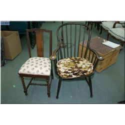 Two antique chairs including one oak T-back and on spindle back armchair