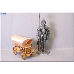 A Knight motif companion set and a Chuckwagon lamp