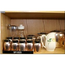 A matched canister, cake and spice rack set etc.