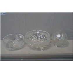 Three crystal bowls including rose bowl, footed center bowl and fruit bowl