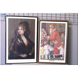 Two framed prints including portrait and Santa's visit