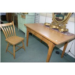 Vintage Canadiana single drawer library table and chair