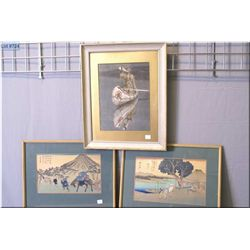 Three framed prints including an Oriental woodcut and a Native American in a canoe print