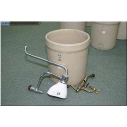 A three gallon Alberta Potteries crock, a shot shell loader and a porcelain spit sink