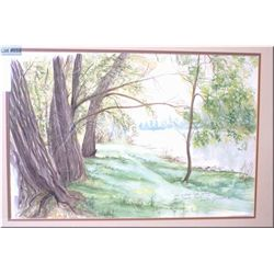 """Framed watercolour """"Old Willow Trees Along The Thomas Trail"""" signed by artist Martin Pimiuer(?) 14"""""""