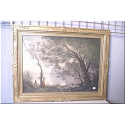 Framed vintage print by artist Jean Baptiste Camille, Corot, depicting a lake scene