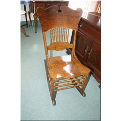 Wooden spindle back rocking chair