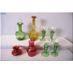 Selection of collectibles including green glass ewer with hand painted flowers and hollow stopper, t